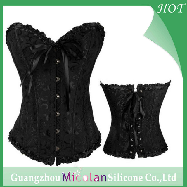d554b8290f Sexy Lingerie Steel Bustiers Black Satin Embroidered Corset Overbust Corsets