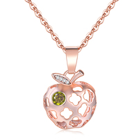 Delicate Hollow Out Apple Shape Pendant Necklace For Women Rose Gold Color Fashion Jewelry Wholesale N620 N621 N622