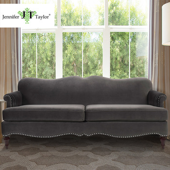Charmant Luxury Elegant Upholstered Velvet Three Seat Sofa With Rivet Classic Dark  Charcoal Grey Fabric Couch