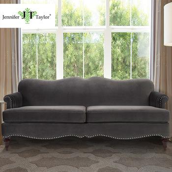Luxus Elegante Polster Samt Drei Sitz Sofa Mit Niete Classic  Dunkelholzkohle Grau Stoff Couch Wohnzimmer