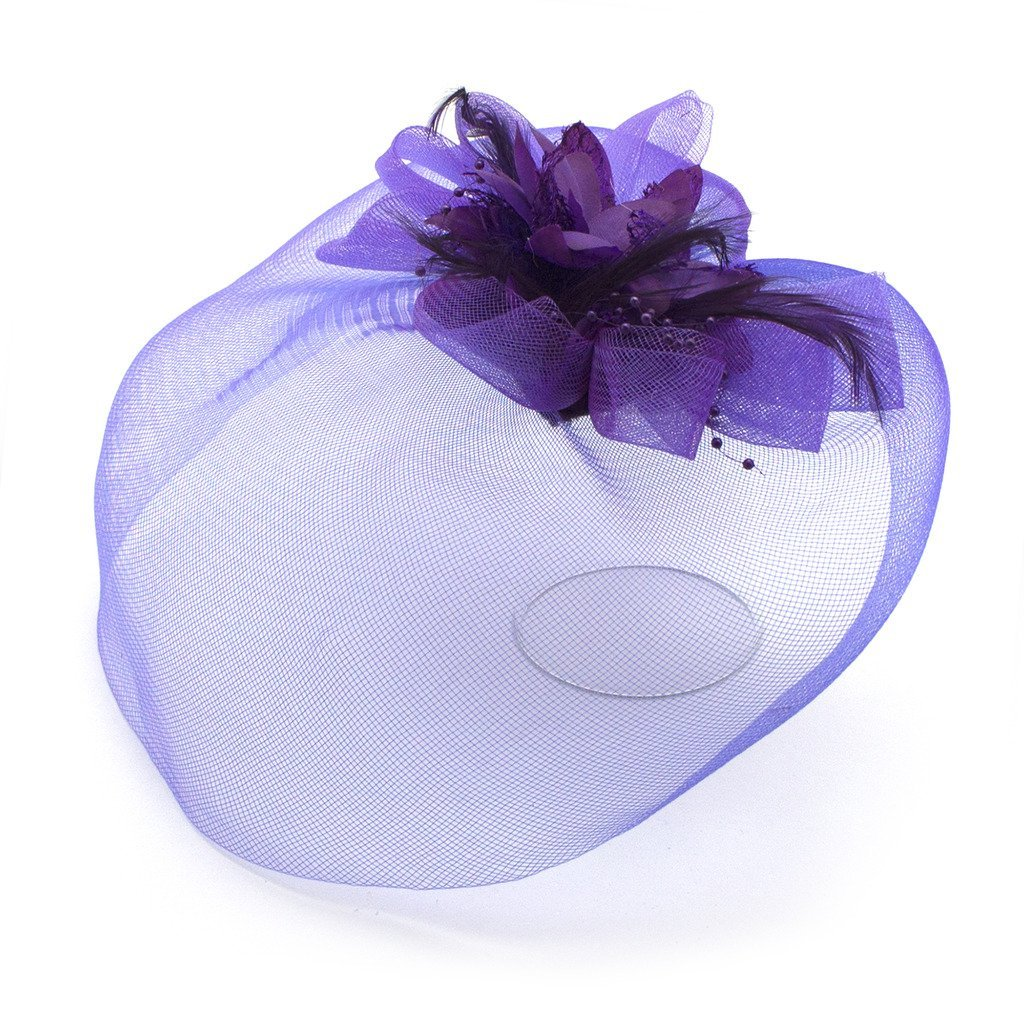 Ladies' Fashionable Feather Flower Bead Detailed and Mesh Ascot/Derby Day Fascinator Hat Headdress - Purple