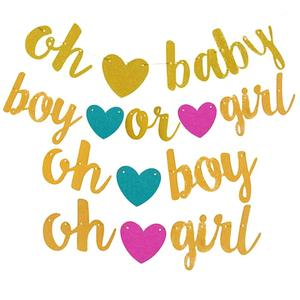 Baby shower party decoration banner oh baby gold glitter paper garland