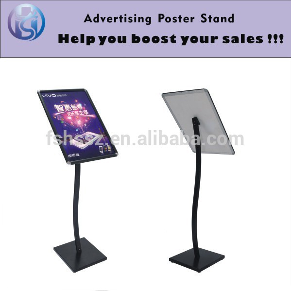 free standing black metal A3 A4 floor poster sign holder stand HS-LP05