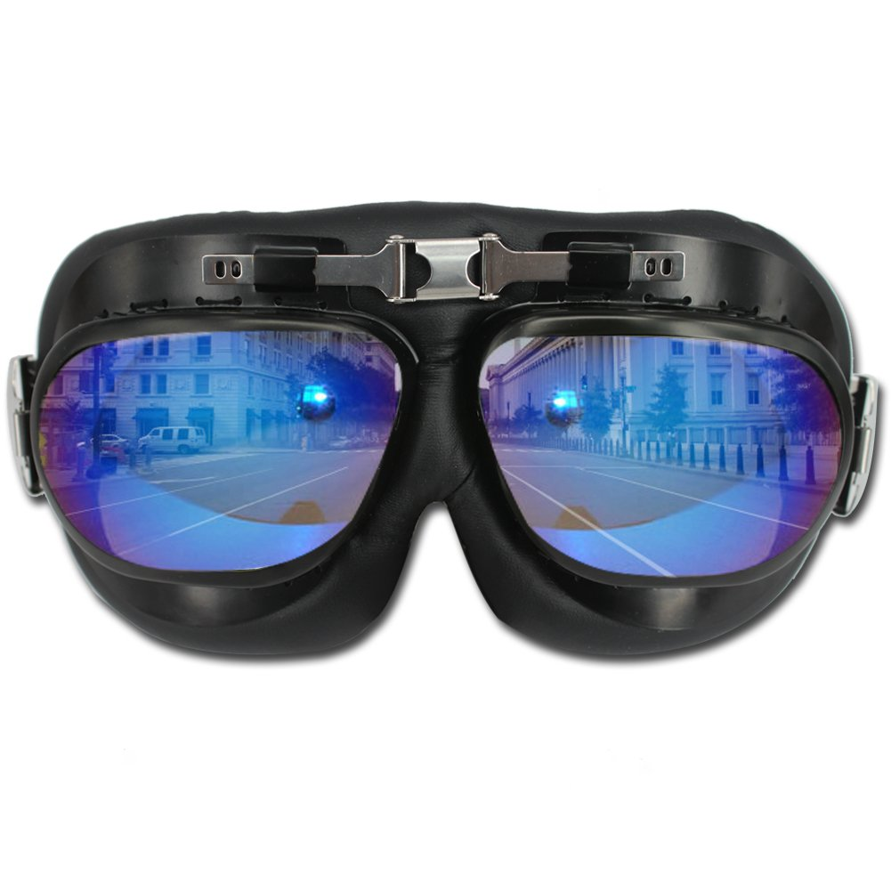 fbf5352c77b Get Quotations · HAMIST Vintage Goggles Aviator Motorcycle Glasses WWII RAF  Pilot Goggles - Half Helmet Campatible