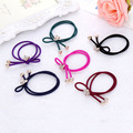 2016New To pUS Alloy Butterfly Charm Women HairRope Band Double Beads Bow Hairband 0 3mm Kid