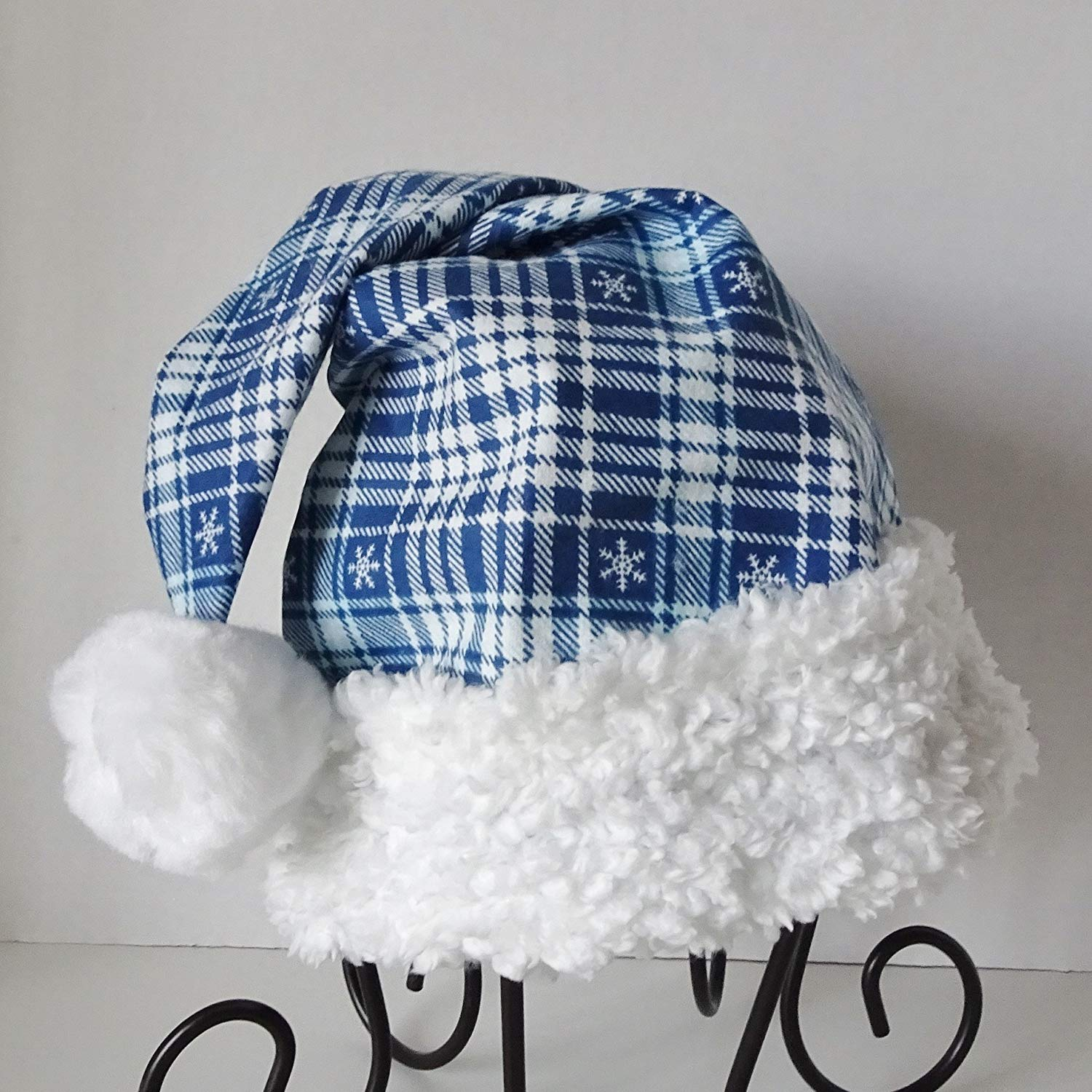 231478bea56fc Get Quotations · Blue Plaid Santa Hat