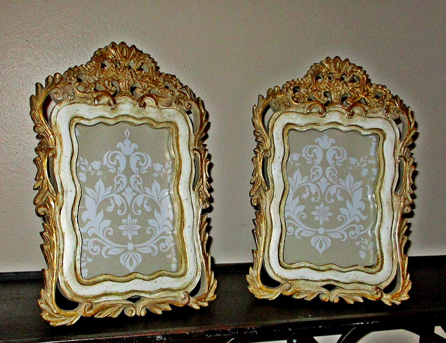 Picture Frames, Upcycled, Vintage, Baroque Style, Gold and Ivory, Resin, Hand Painted, Weddings, Anniversaries, Mediterranean, French, English, Tabletop Frames, Ornate Design