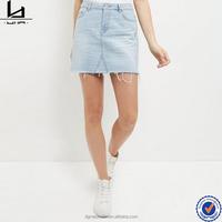 custom latest fashion women blue short A line fray hem jean skirt