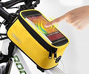 """Roswheel® Waterproof 4.2"""" 4.8"""" 5.5"""" Bike Bicycle Cycling Frame Pannier Front Tube Bag Saddle Bag Touchscreen Cell Phone Case Bag Phone Holder GPS Bag with Headphone Jack Reflective Strips for Safe Night Riding Suitable for iPhone Samsung HTC Nokia and other Smartphones (Yellow, S( 4.2 inch))"""