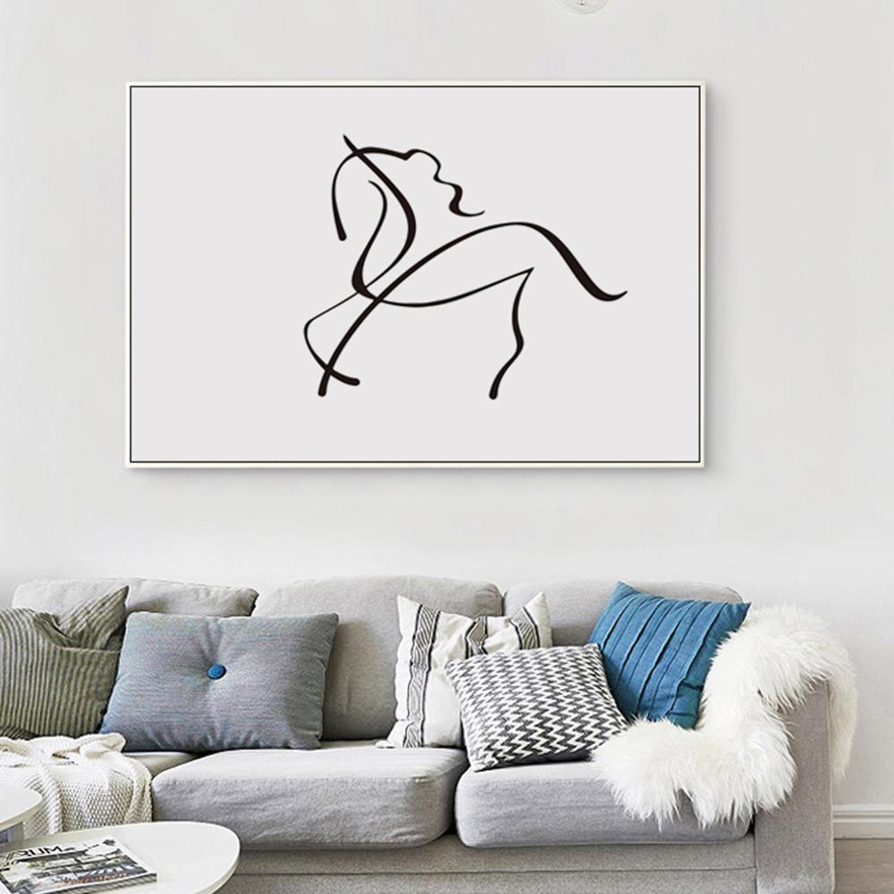 achetez en gros noir blanc moderne art peinture cheval en ligne des grossistes noir blanc. Black Bedroom Furniture Sets. Home Design Ideas
