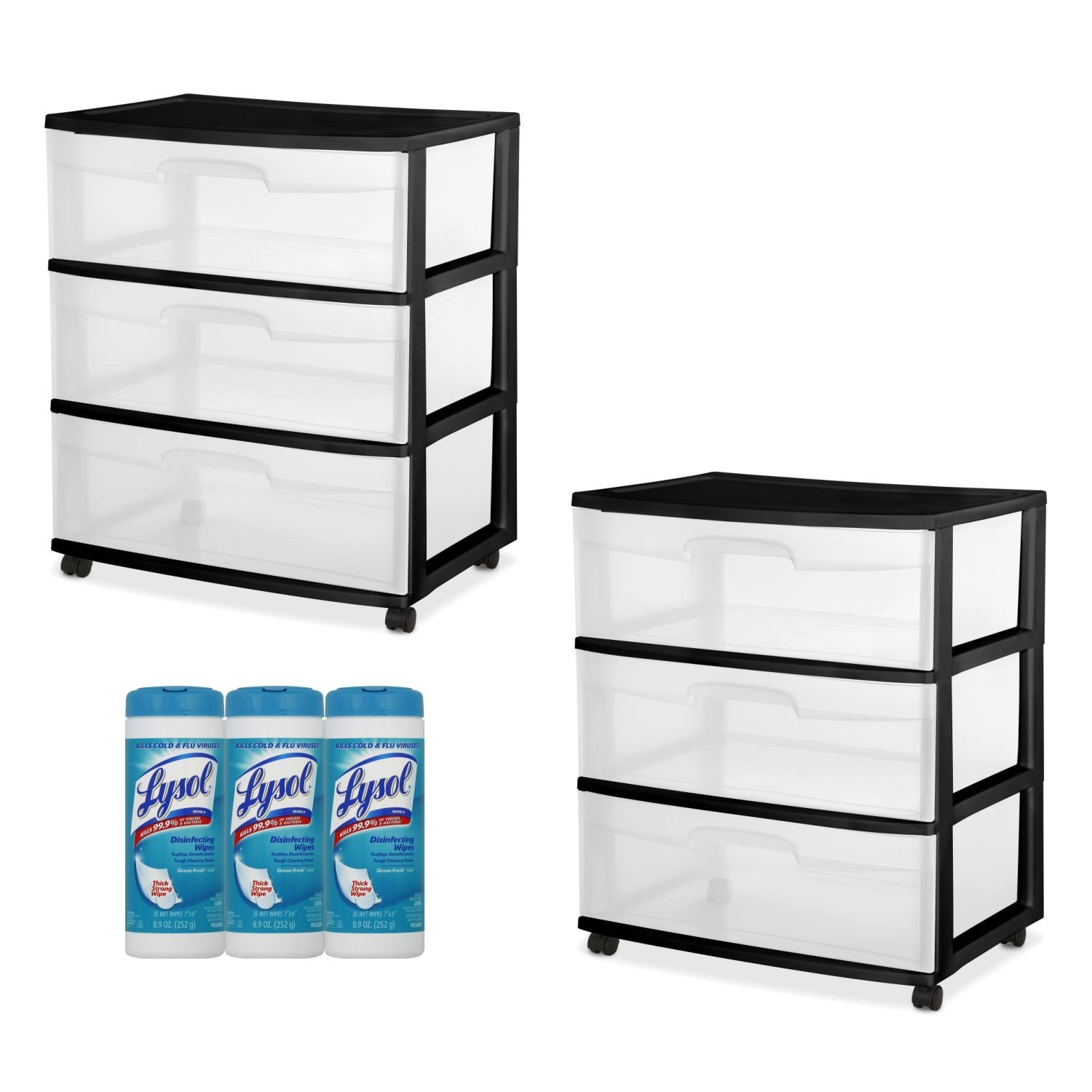 Sterilite 3-Drawer Wide Cart Black Frame with See-Through Drawers, 2-PACK with Lysol Disinfecting Wipes, 105 Count