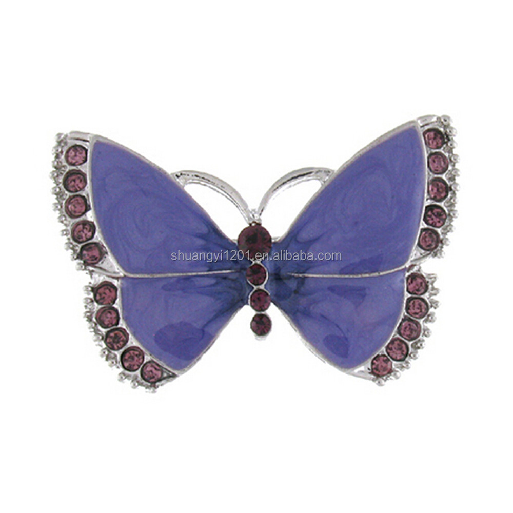 Silver Plated Purple Enamel Butterfly Pin Brooches Decorative Jewelry Wholesale Yiwu