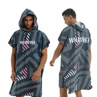 Wholesale Custom Logo Embroidery Beach Poncho Towel Microfiber Hooded Beach Towel Surf Poncho For Adults