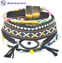 Multi Layers Handmade Jewelry Ethnic Brazil Bohemian Fashion Big Eye Shape Black Wrap Bracelet Women