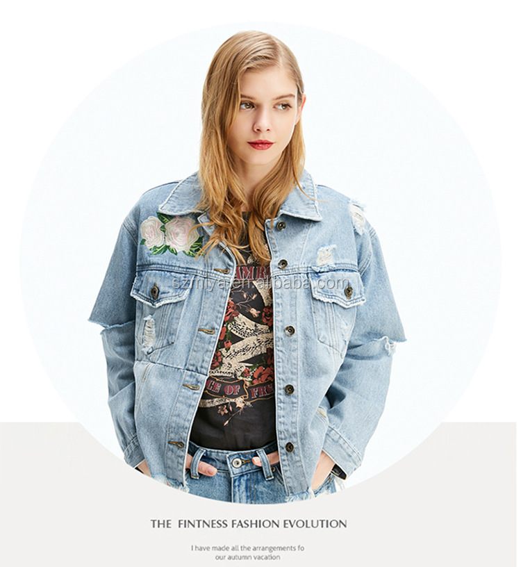 2018 Female 100% cotton jean coat casual clothing embroidery women denim jacket