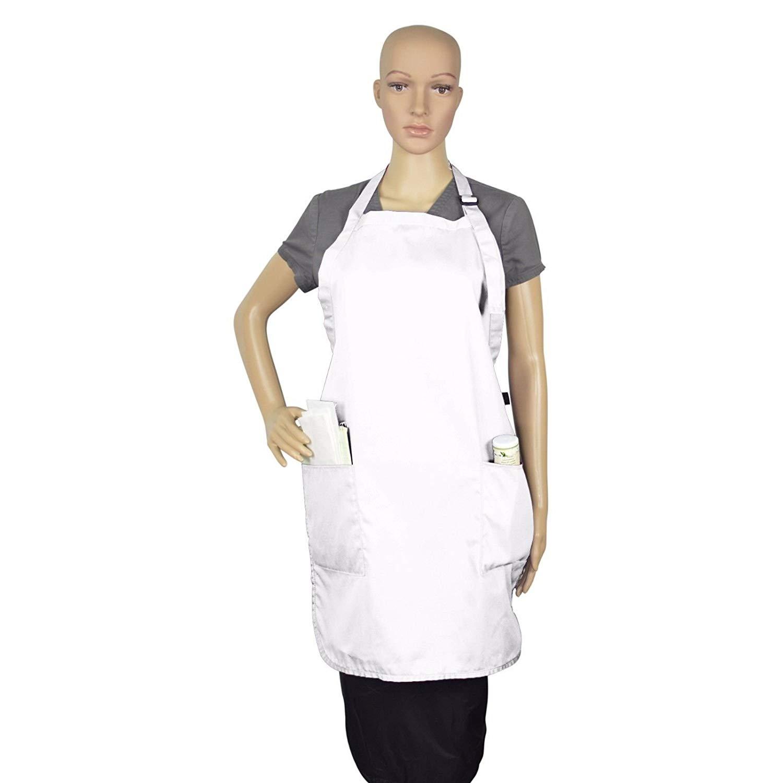 Apron Bib Commercial Restaurant Home Bib Spun Poly Cotton Kitchen Aprons (2 Pockets) (1, White)