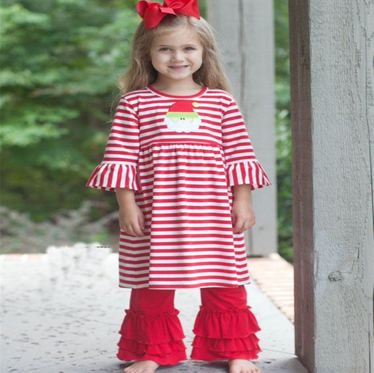 Wholesale christmas boutique children clothes remake fall cotton baby clothes