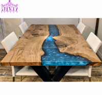 ready ship custom made size water ash blue ocean river wood walnut coffee table