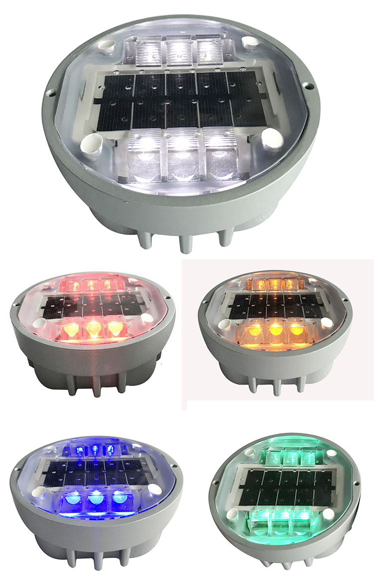 6 led lights aluminium stud reflective solar road studs