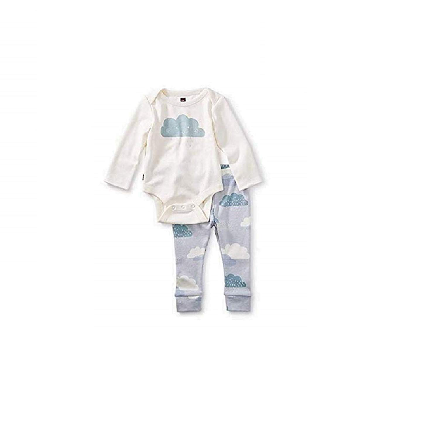 e2b5ba951 Get Quotations · Tea Collection 2-Piece Bodysuit Baby Outfit, Chalk, Cloud  Design with White Top