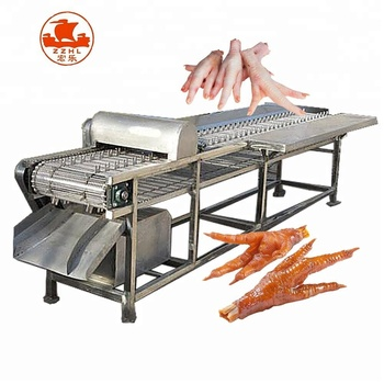 Commercial Industry Automatic Stainless Steel Chicken Feet Cutter Peeling Machine Product Line
