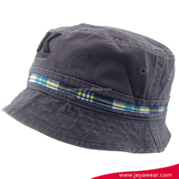 Wholesale Cotton Custom Embroidered Bucket Hats washed fishing cap with plaid trims