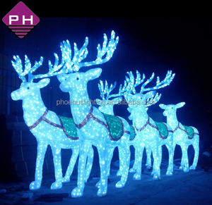acrylic LED light reindeer car kit with Santa Claus