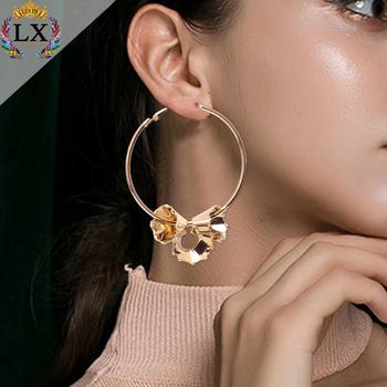 Elx 01015 2018 Newest Gold Plated Hoop Statement Earrings Fashion Modern Design Latest Korean 18k