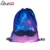 Promotional waterproof oxford stars night sky drawstring backpack bag