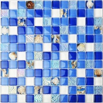 Strand Blau Weiss Glas Muschel Fliesen Harz Mosaik Perlmutt Poliert