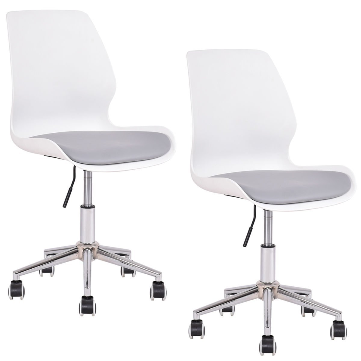 GHP 2-Pcs 330-Lbs Capacity PP Upholstered Seat 360 Swivel Chairs with Armrests