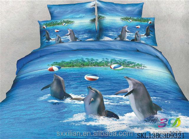 100 Katoen 3d Dolfijn Printing Dekbedovertrek Beddengoed