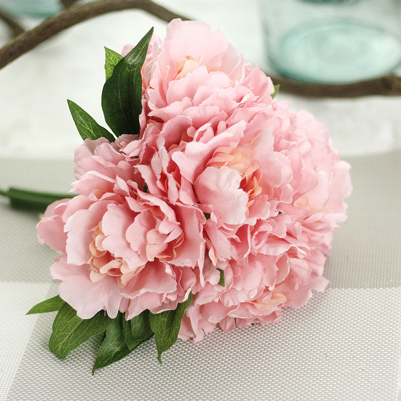 GF13823S1 High Quality silk <strong>flower</strong> Artificial Peony <strong>Flowers</strong> Fake Leaf Wedding Home Party Decoration Bouquet