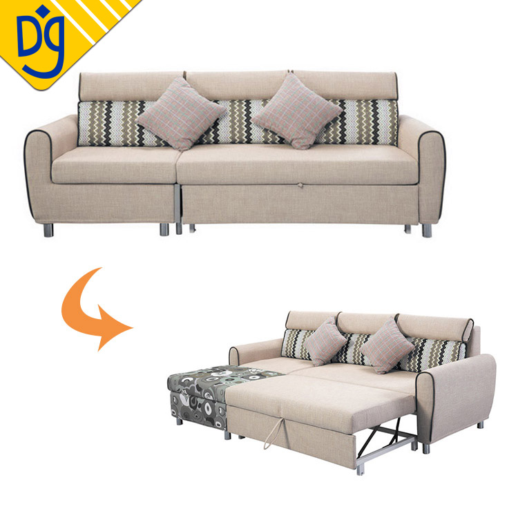 Convertible sectional European french style sofa bed with storage ottoman