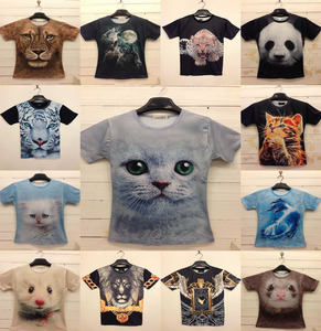 Factory Custom 3D Sublimation Polyester Animal Printed T Shirt
