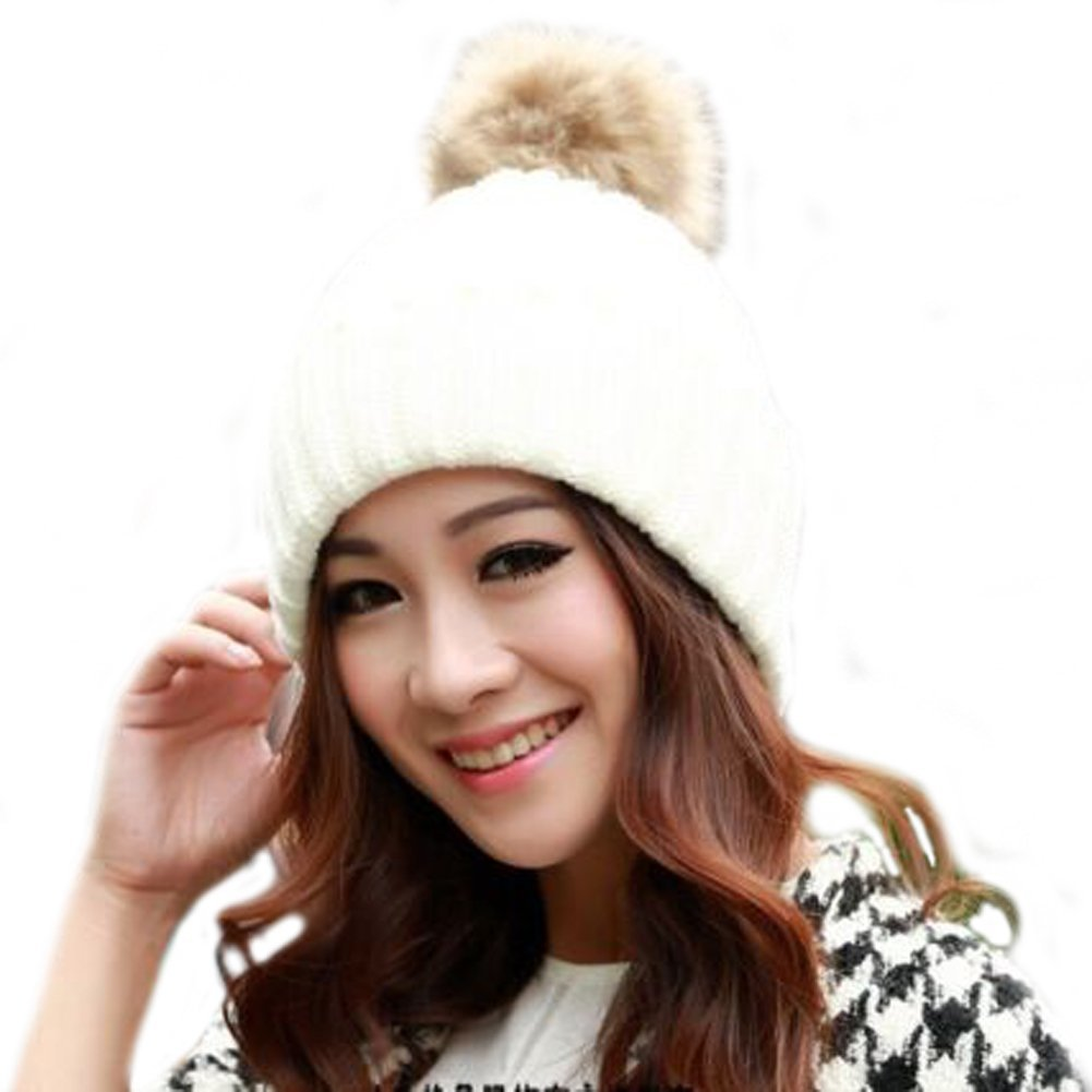 Get Quotations · HYstore New Fashion Women Lady Girls Winter Warm Knit Hats  Rabbit Hair Ski Beanie Ball Caps 24da8fa49dc2