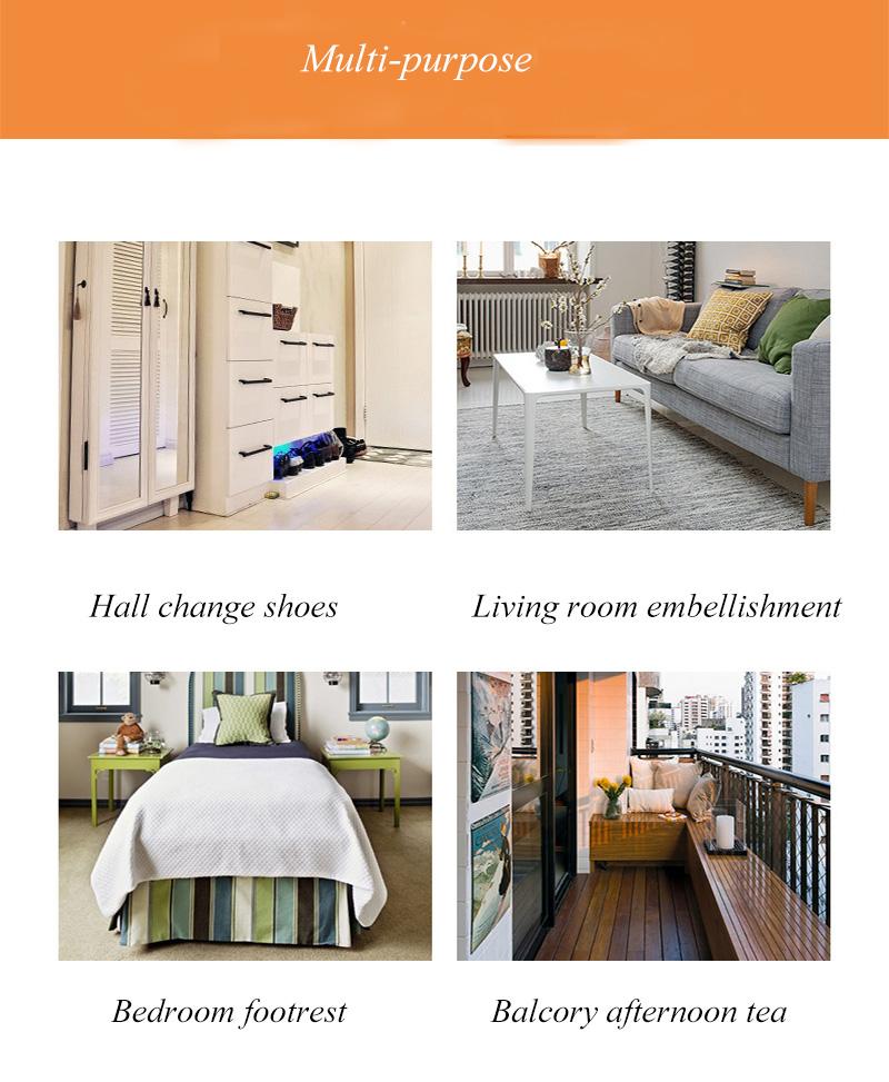 Promotion Classic Style Velvet Material Living Room Storage Ottoman Box