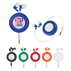 Giveaway wholesale personal solid plastic round shaped simple 1.2m retractable cable in-ear cell phone cartoon earphone