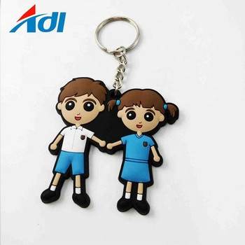 Custom soft pvc popular personalised girl keychains for sale