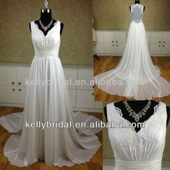 Short-sleeve Sweetheart Chiffon Dress Cathedral Train Wedding ...