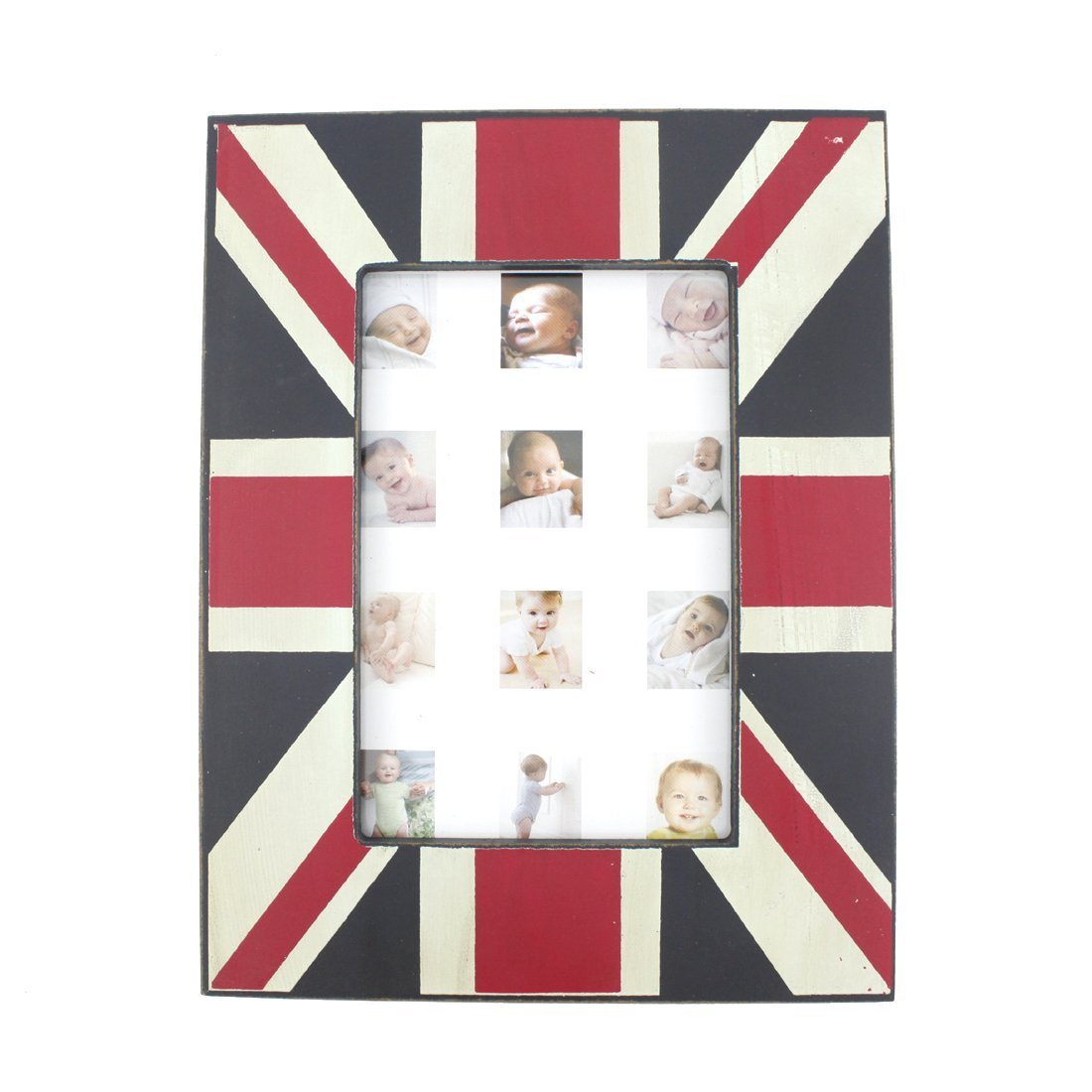 Wood Table Top UK National Flag Theme Family Picture Photo Frame with Glass Front for Home Decor (4x6)