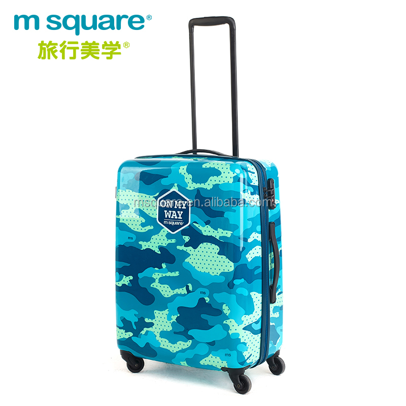 "Travel plastic trendy design bright color 20"" suitcases luggage"