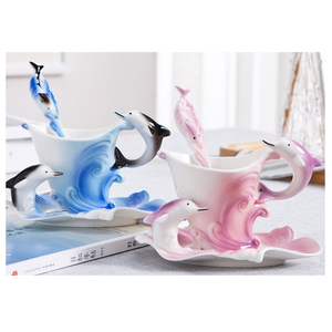Gift Crafts Promotional Cheap Porcelain Mug Factory Creative Coffee Mug Dolphin Mug on Sale