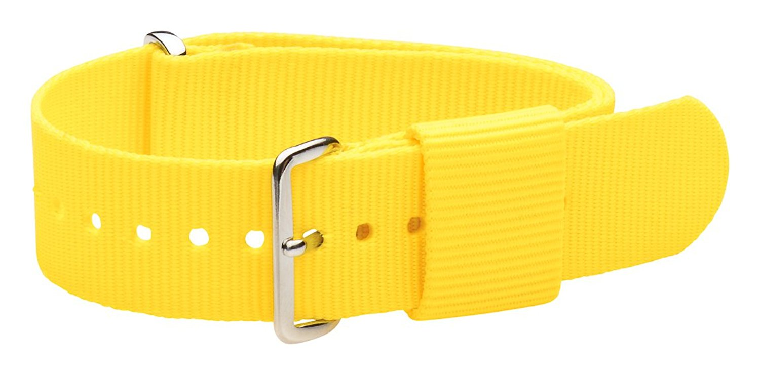 20mm Nato Ss Nylon Loop Solid Yellow Interchangeable Replacement Watch Strap Band