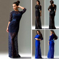 New Spring and Summer in Europe and America Sexy Lace Evening Dress