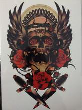 Alta Qualidade 21X15 CM Decalques Body Art Decalque Impermeável Tatuagem Do Crânio de Ouro