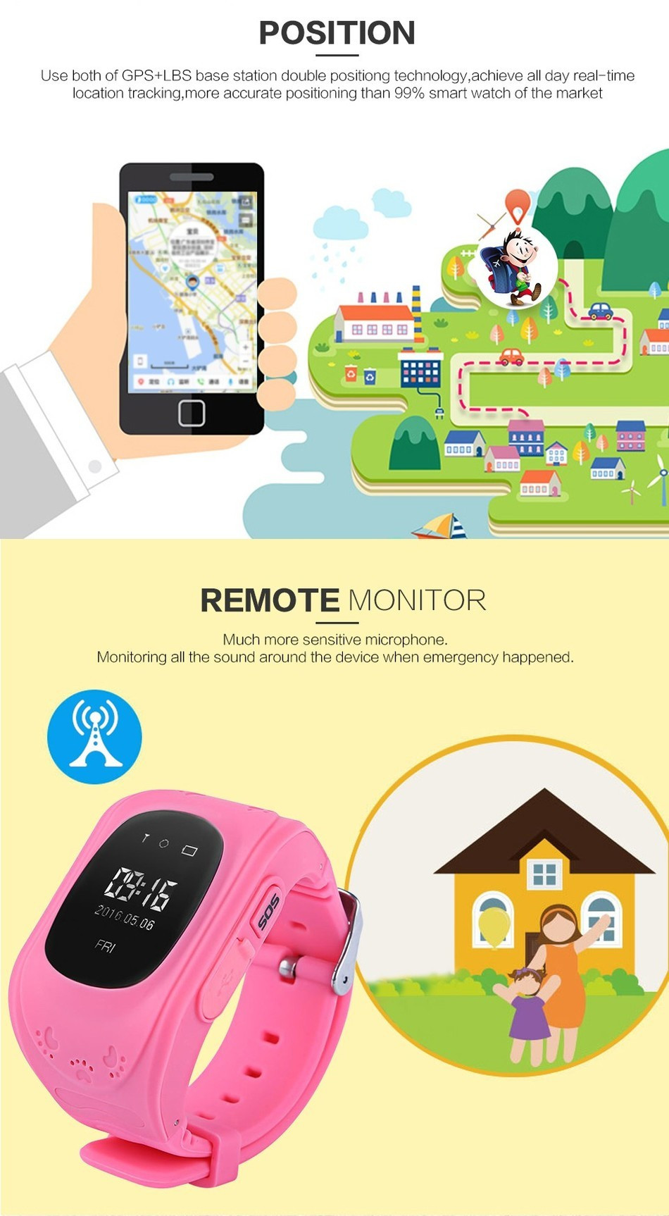 Watches Child Cute Smartwatch Safe-keeper Sos Call Anti-lost Monitor Real Time Tracker For Children Base Station Location App Control Buy One Give One