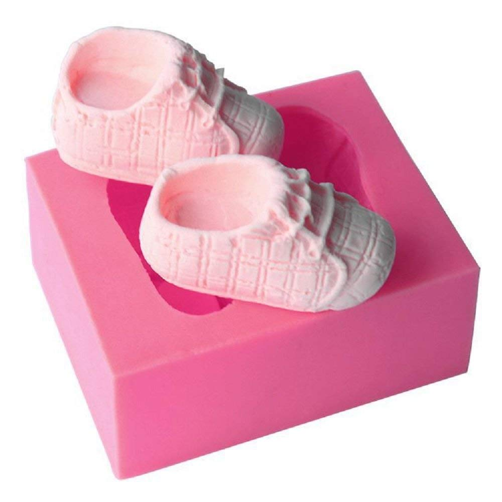 Silicone Baby Booties Cute Baby Silicone Fondant Cake Mold Kitchen Baking Mold Cake Decorating Moulds Modeling Tools (Baby Shoes) Mold