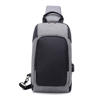 KAUKKO New Men's Chest Bag USB Charging Outdoor Leisure Small Messenger Bag
