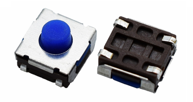 Waterproof 6x6 tact switch with blue color rubber button smd tact switch online sale